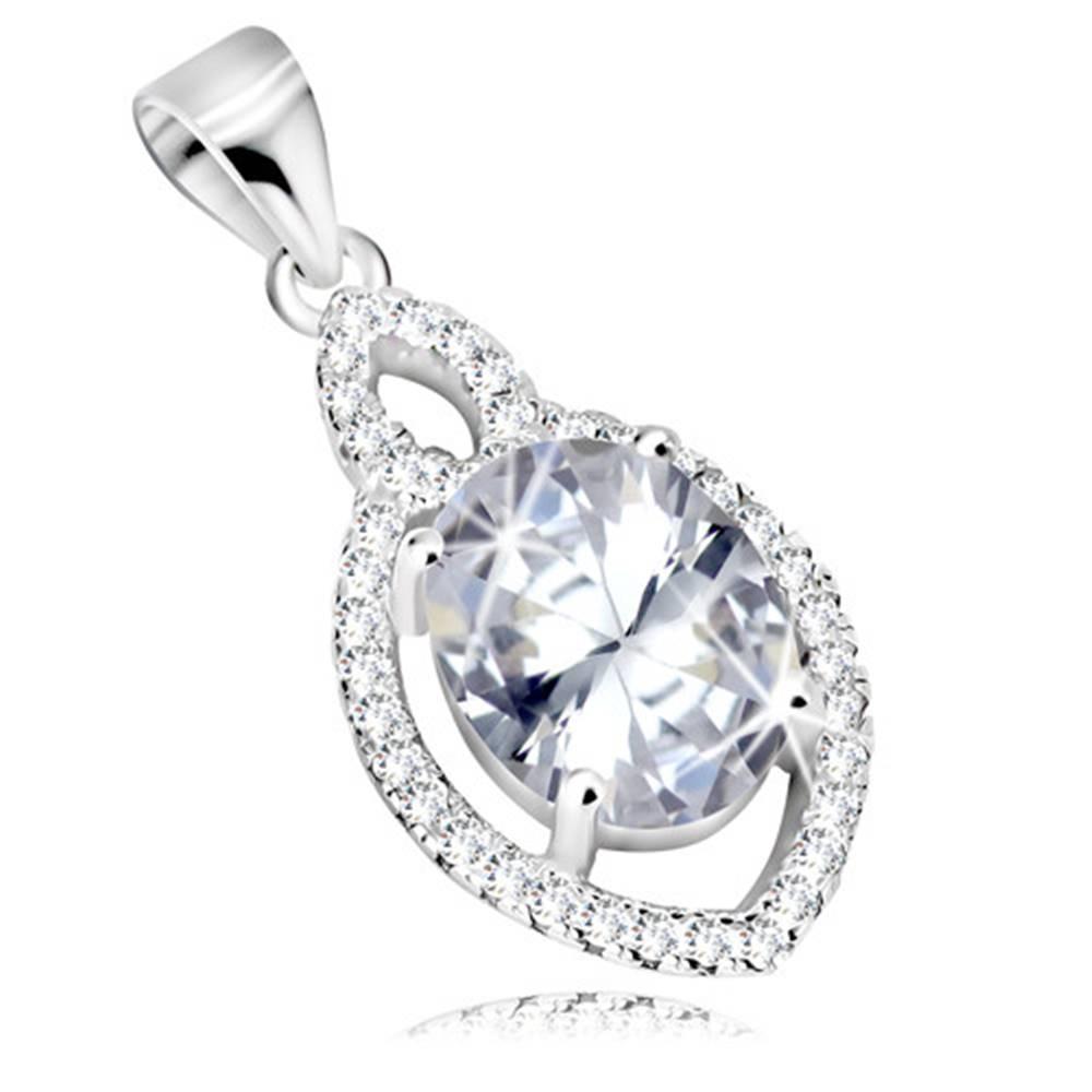 Šperky eshop Strieborný prívesok 925, oválny zirkón čírej farby, číry lem v tvare zrniečka