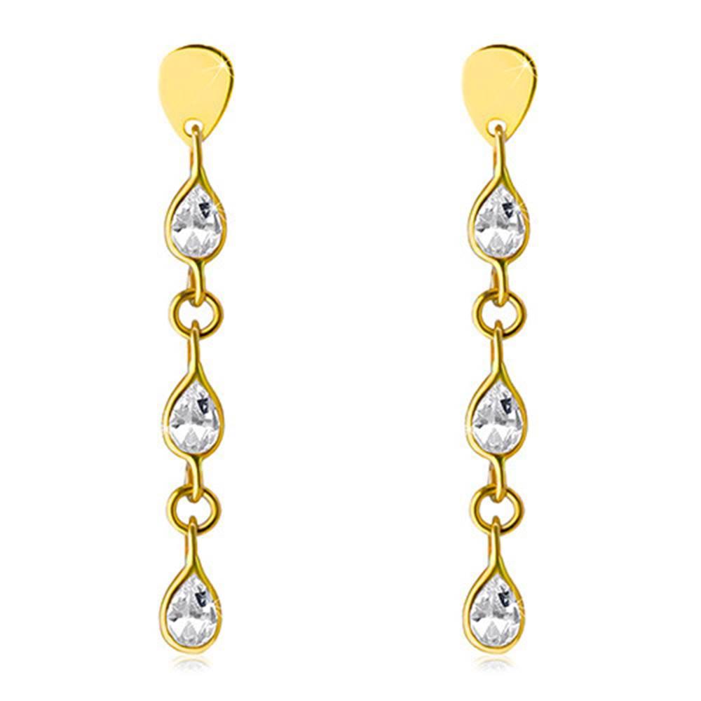 Šperky eshop Visiace náušnice v žltom 14K zlate - tri ligotavé zirkónové slzičky, puzetky