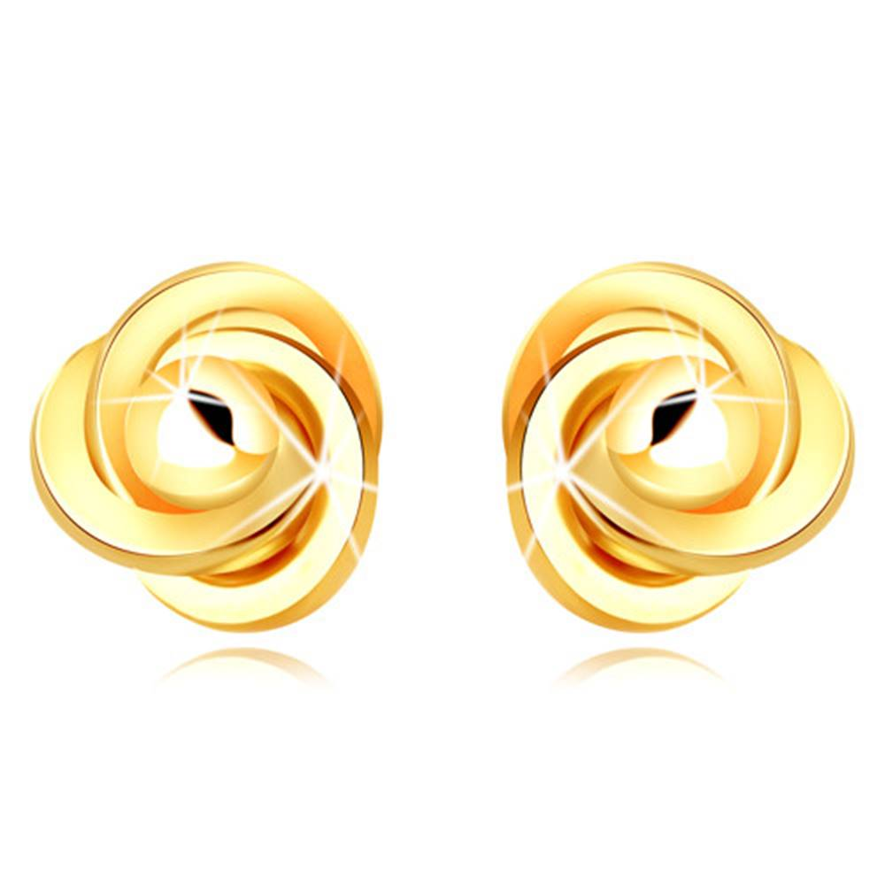 Šperky eshop Zlaté náušnice 585 - tri prepletené prstence s hladkou guľôčkou uprostred, puzetky