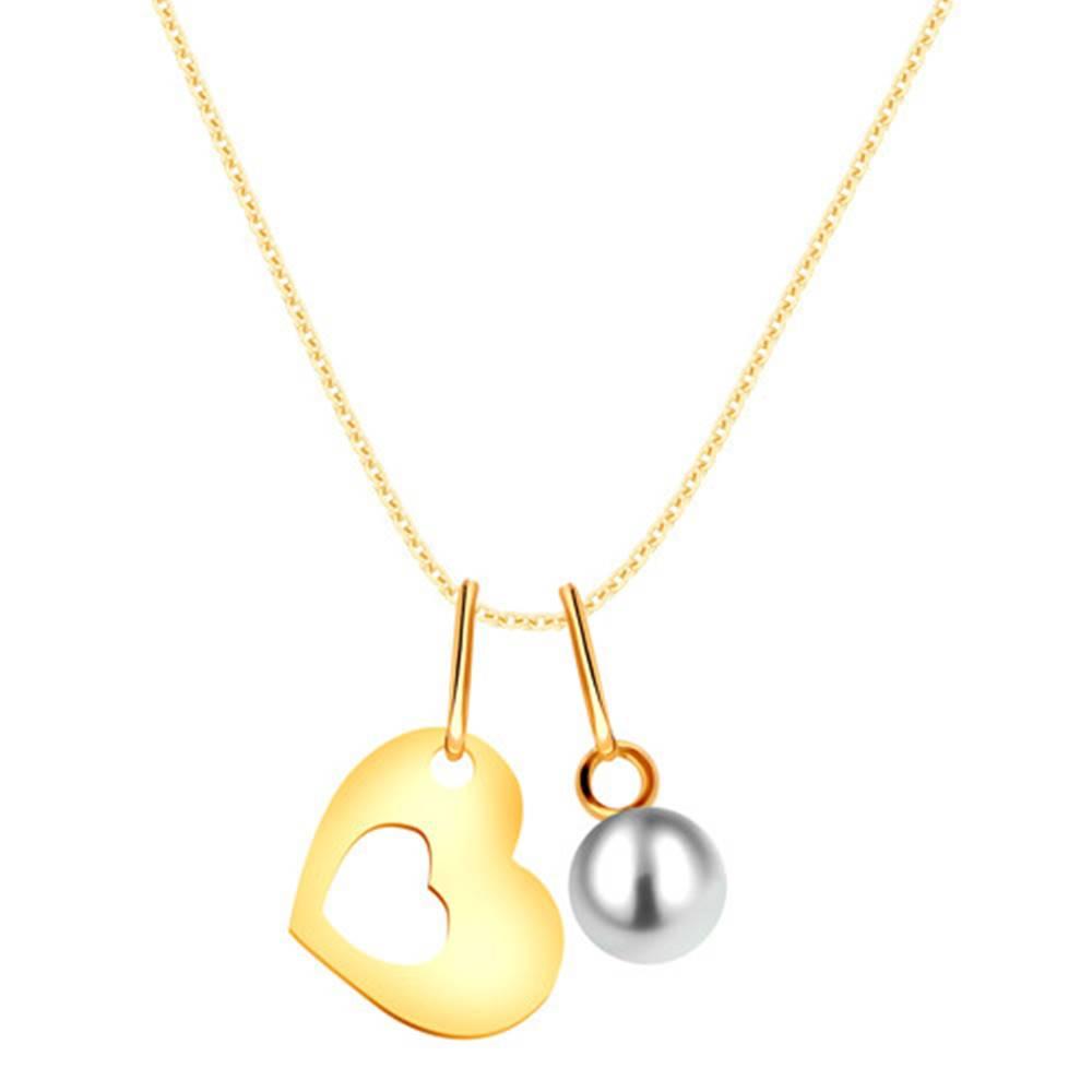 Šperky eshop Zlatý náhrdelník 375 - silueta srdca s výrezom uprostred, okrúhla biela perla