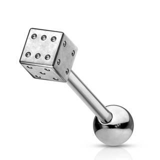 Piercing do jazyka - oceľová hracia kocka