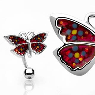 Piercing do pupku kvietkovaný motýlik