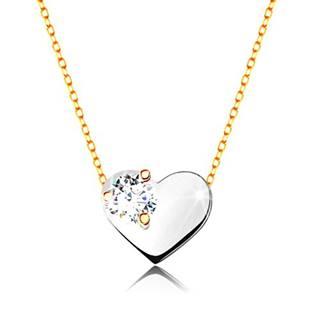 Náhrdelník v žltom a bielom zlate 375 - tenká retiazka, srdce s čírym zirkónom