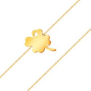 Náramok zo žltého 14K zlata - štvorlístok s výrezom srdiečka, lesklá retiazka