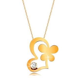 Zlatý 9K náhrdelník - retiazka z oválnych očiek, kontúra srdca, motýľ a číry zirkón