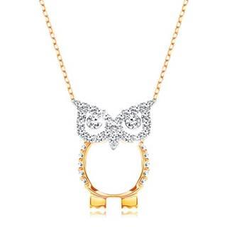 Zlatý 9K náhrdelník - retiazka z oválnych očiek, sova zdobená čírymi zirkónikmi