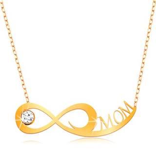 Zlatý náhrdelník 375 - jemná retiazka, symbol nekonečna, číry zirkón a nápis MOM