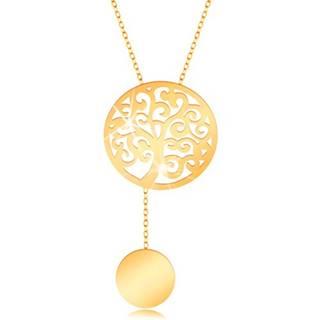 Zlatý náhrdelník 375 - kruh s vyrezávaným stromom a visiacim kolieskom