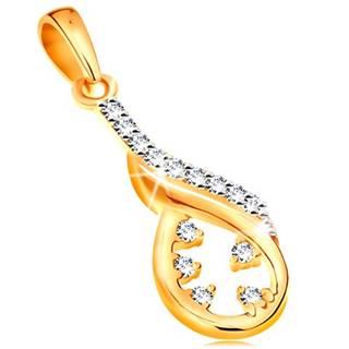 Zlatý prívesok 585 - asymetrický obrys slzy, vlnka z bieleho zlata, číre zirkóny