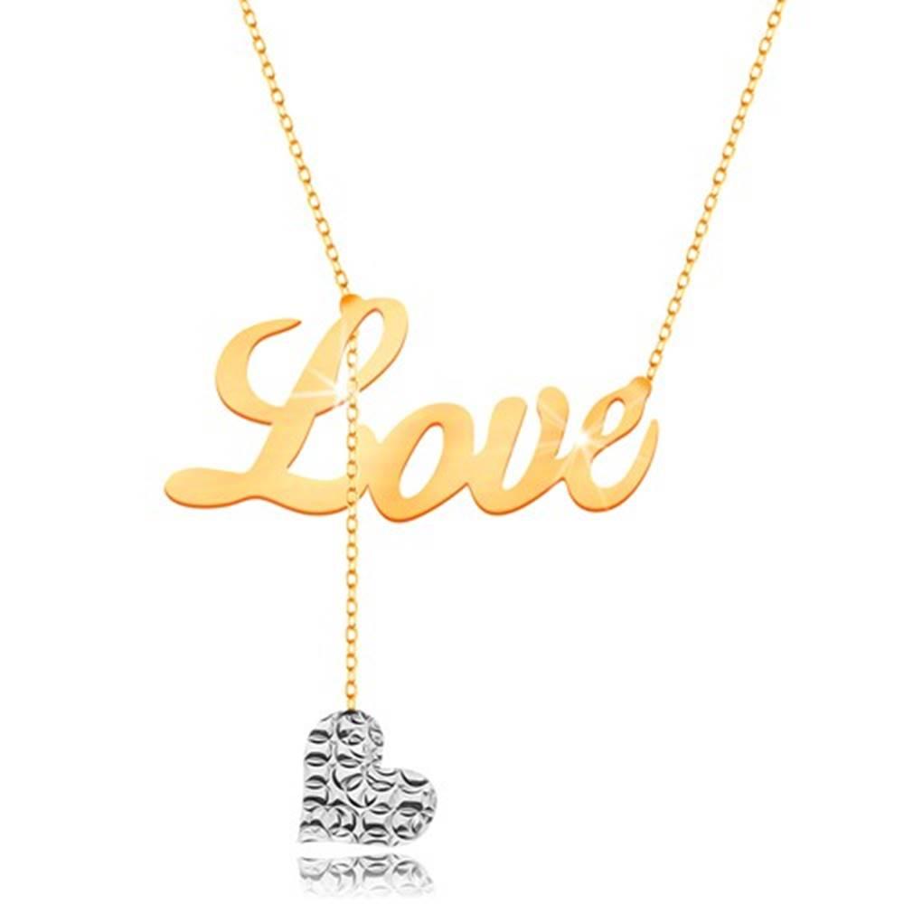 Šperky eshop Náhrdelník v 9K zlate - nápis Love, visiace srdiečko z bieleho zlata na retiazke