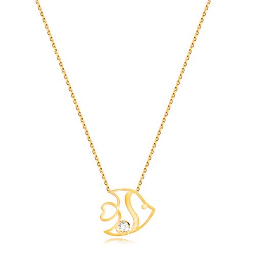 Šperky eshop Náhrdelník v žltom 9K zlate - jemná retiazka a lesklý obrys rybky, číry zirkón