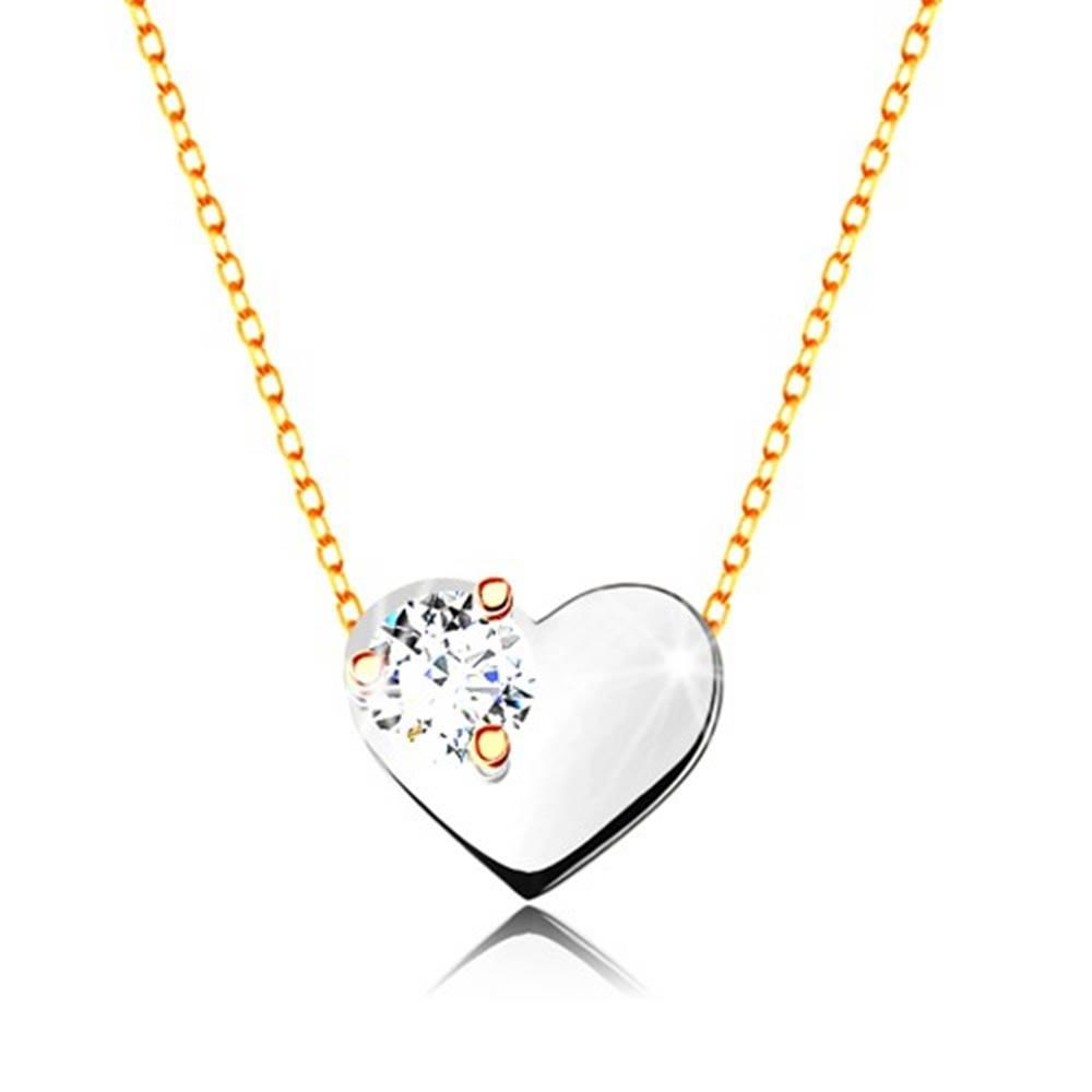 Šperky eshop Náhrdelník v žltom a bielom zlate 375 - tenká retiazka, srdce s čírym zirkónom
