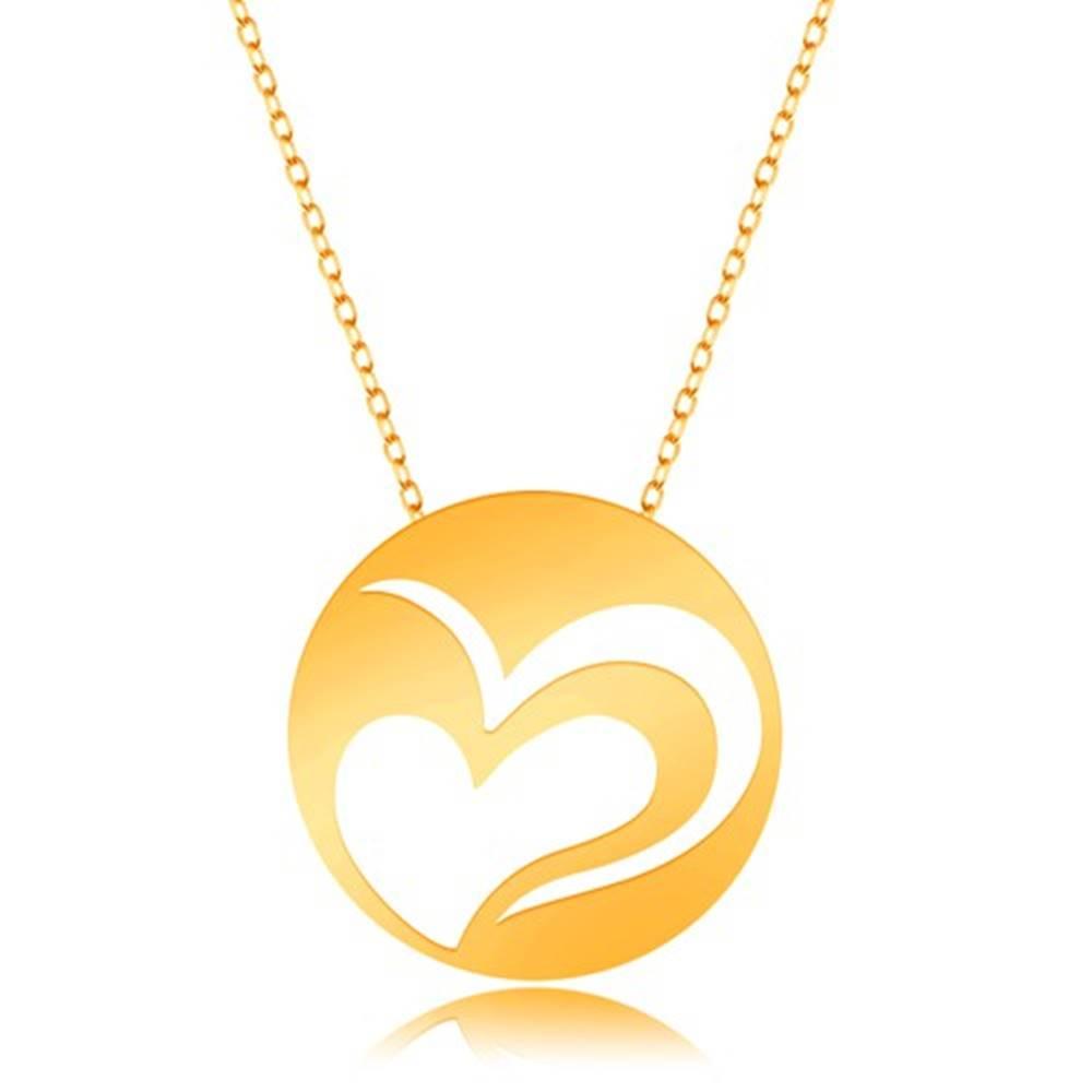 Šperky eshop Náhrdelník z 9K zlata - jemná retiazka, kruh s výrezom nesúmerného srdca