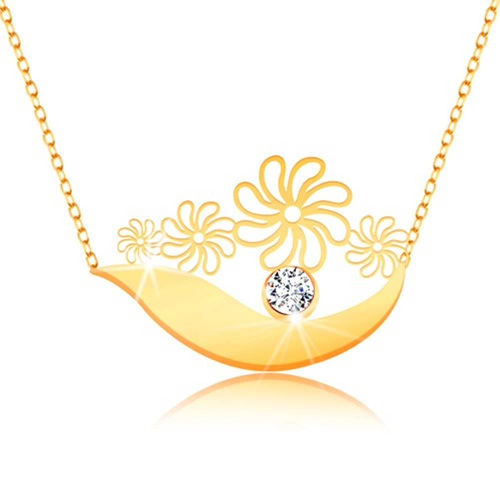 Šperky eshop Náhrdelník zo žltého 9K zlata - širší oblúk, kvietky, číry zirkón a jemná retiazka
