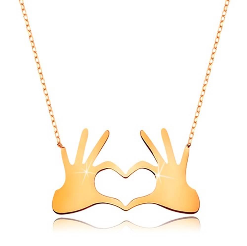 Šperky eshop Náhrdelník zo žltého 9K zlata - srdce z dvoch spojených dlaní, jemná retiazka