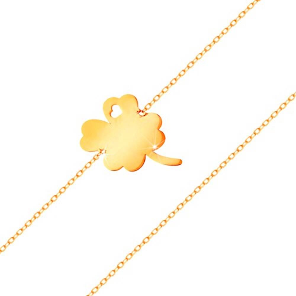 Šperky eshop Náramok zo žltého 14K zlata - štvorlístok s výrezom srdiečka, lesklá retiazka