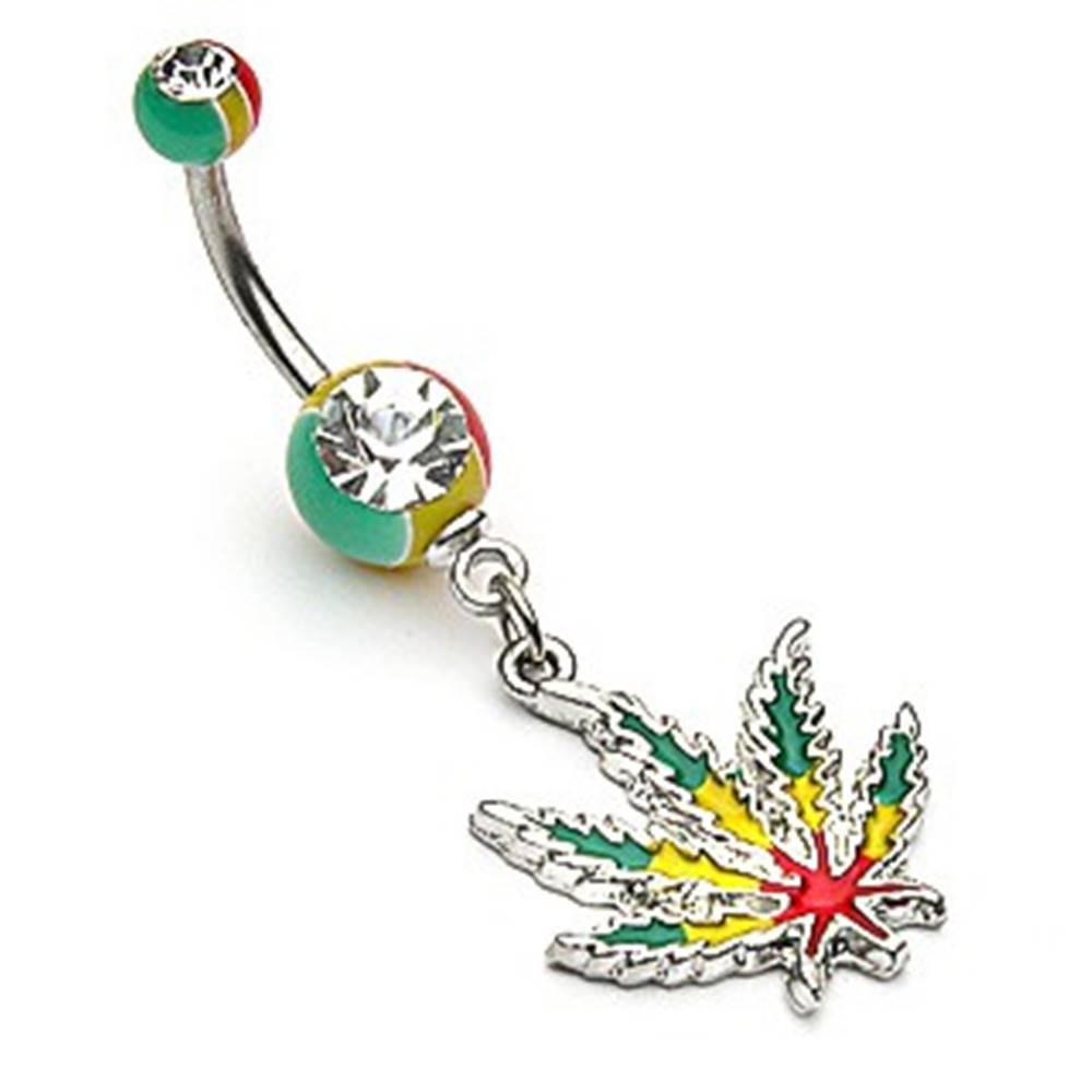 Šperky eshop Oceľový piercing do pupka - list konope v rasta farbách, zirkóny