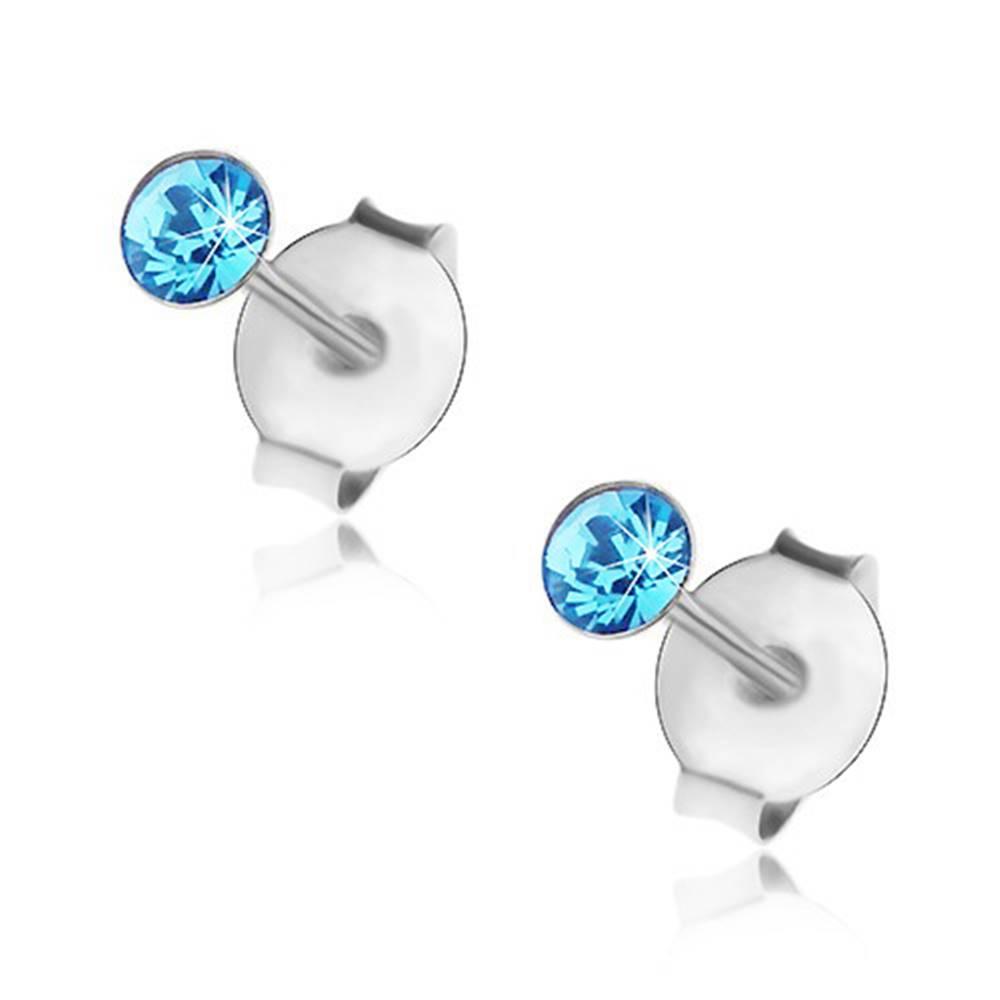 Šperky eshop Puzetové náušnice, striebro 925, krištálik Swarovski svetlomodrej farby, 3 mm
