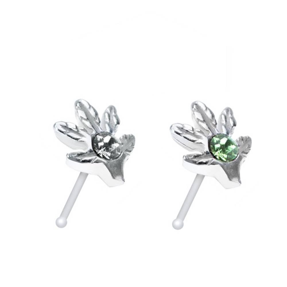 Šperky eshop Strieborný 925 piercing do nosa s listom marihuany a zirkónom - Farba zirkónu: Číra - C