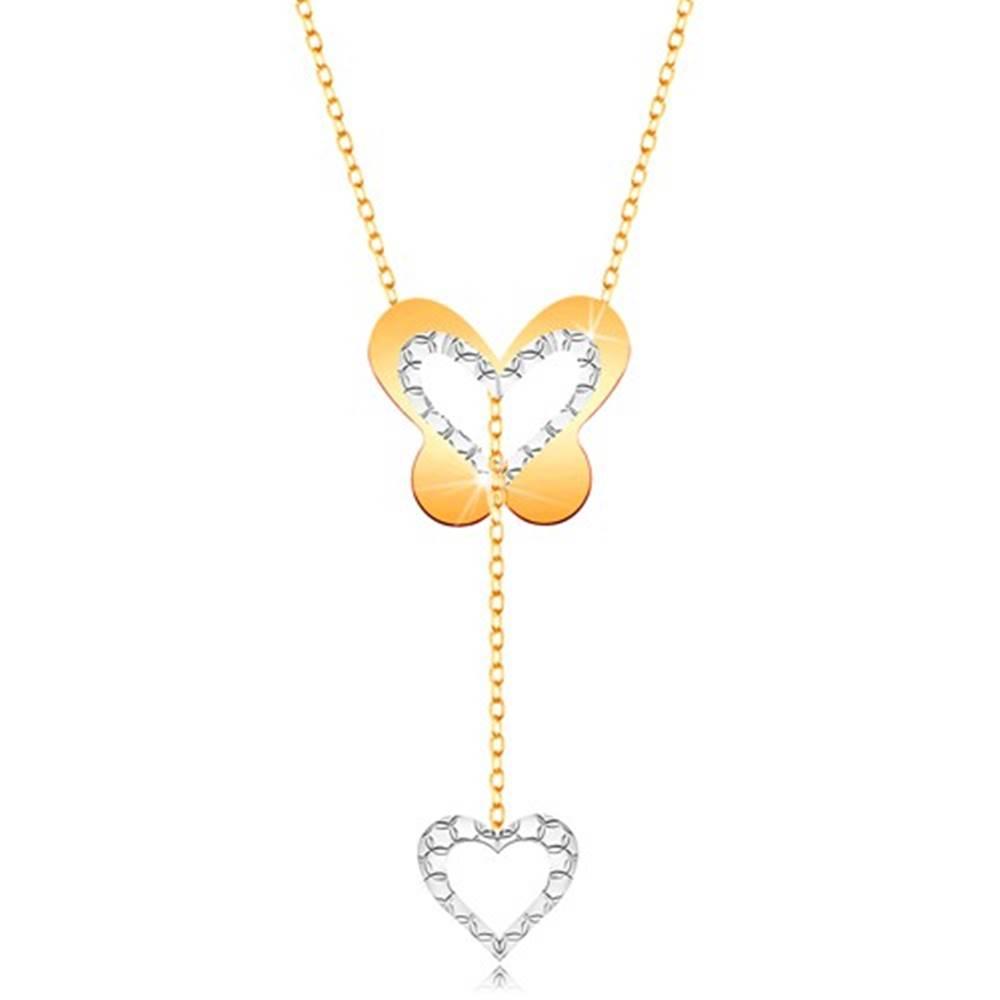 Šperky eshop Zlatý 9K náhrdelník - motýľ s výrezom a visiacou kontúrou srdiečka na retiazke