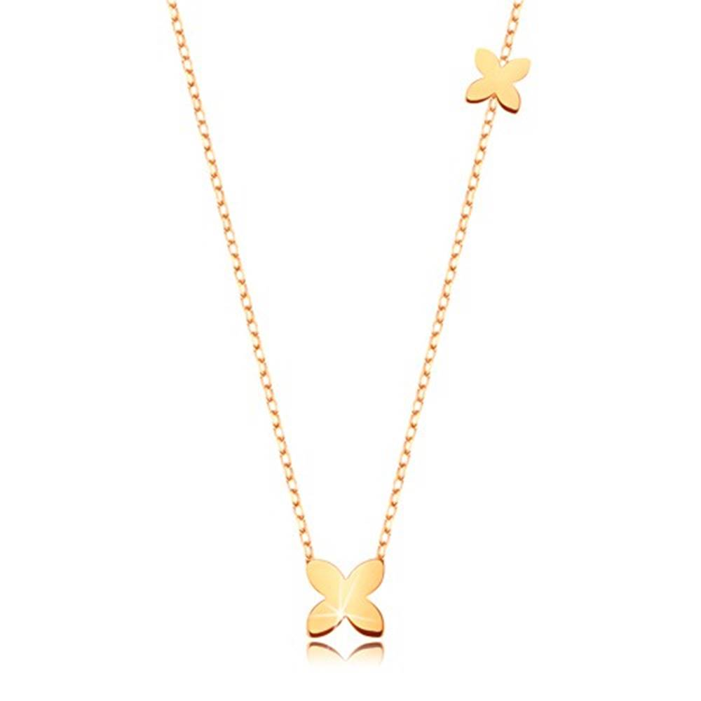Šperky eshop Zlatý 9K náhrdelník - tenká retiazka, dva jednoduché lesklé kvietky