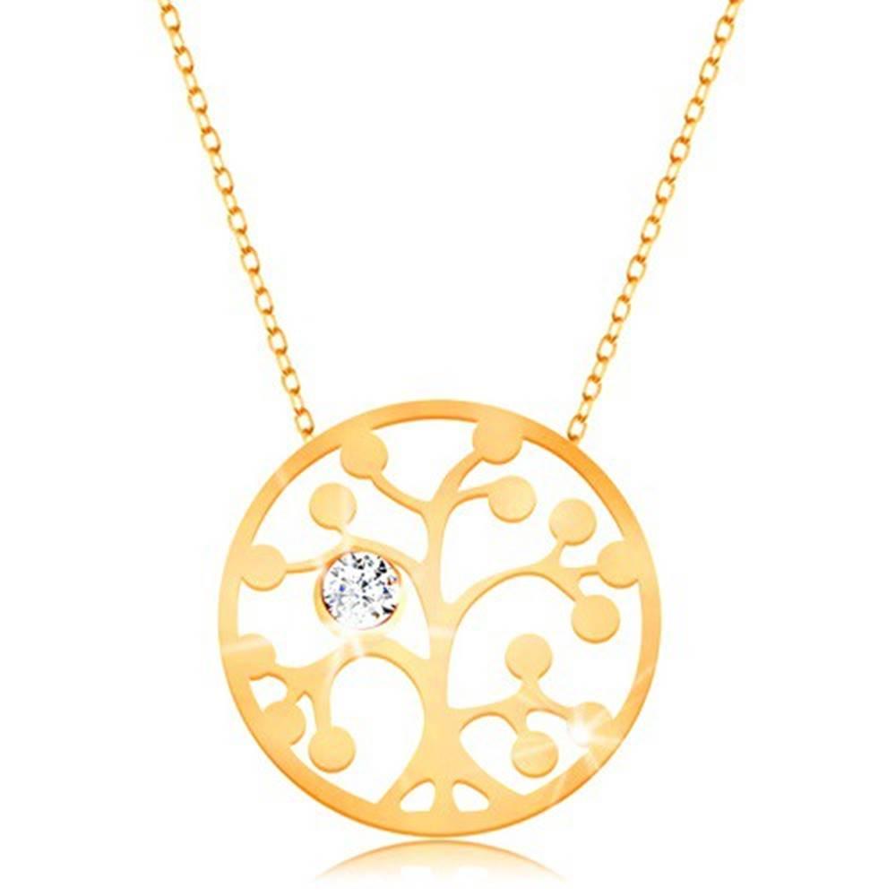 Šperky eshop Zlatý náhrdelník 375 - kruh s vyrezávaným stromom a čírym zirkónikom