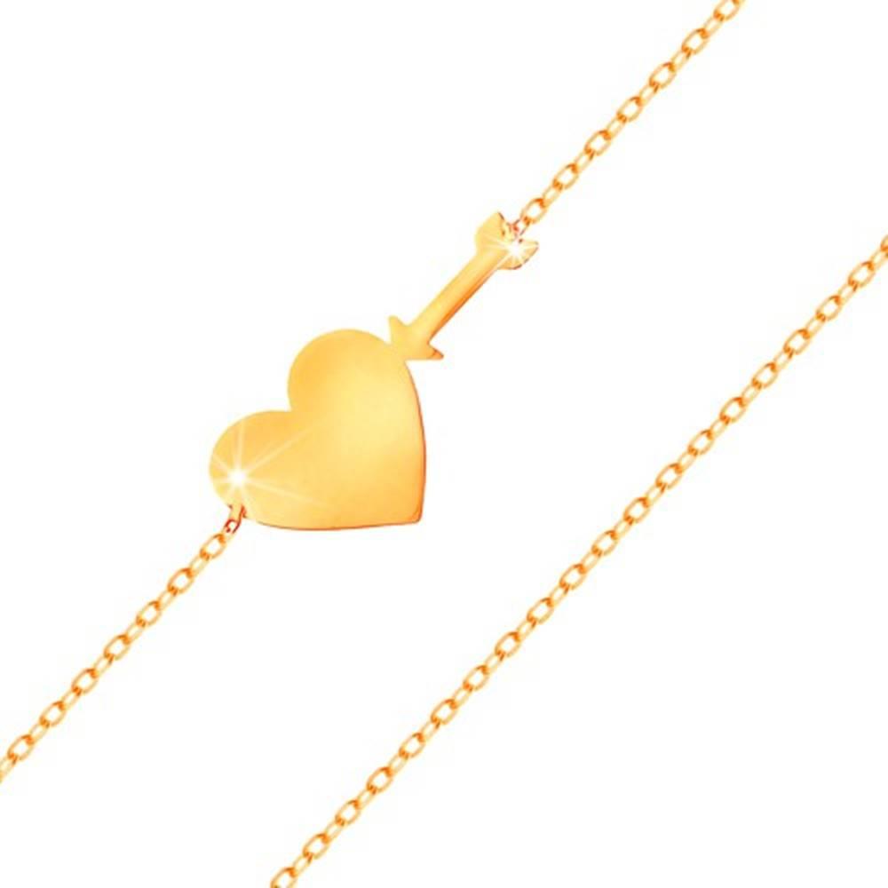 Šperky eshop Zlatý náramok 585 - tenká ligotavá retiazka, lesklé ploché srdce a šíp