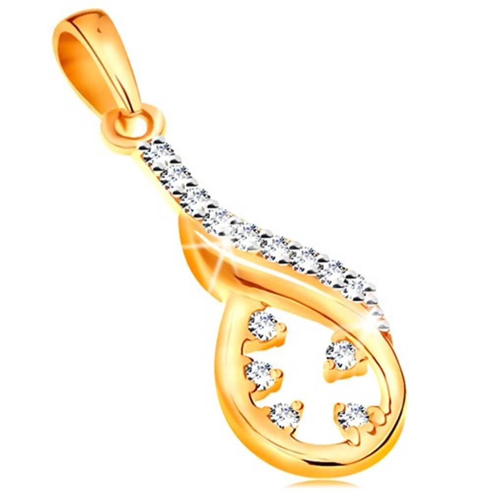 Šperky eshop Zlatý prívesok 585 - asymetrický obrys slzy, vlnka z bieleho zlata, číre zirkóny