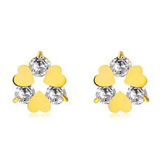 Náušnice v žltom 14K zlate - kvietok so srdiečkovými a čírymi zirkónovými lupeňmi