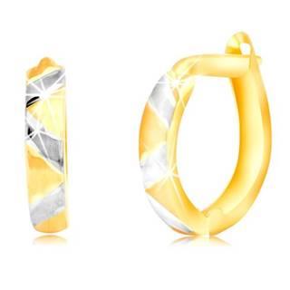 Náušnice z kombinovaného 14K zlata s matným cik-cakovým vzorom