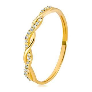 Prsteň v žltom 14K zlate - dve vzájomne prepletené línie, okrúhle číre zirkóniky - Veľkosť: 49 mm