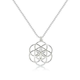 Strieborný 925 náhrdelník - lesklý symbol Semeno života