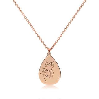 Strieborný 925 náhrdelník medenej farby - lesklá slza s vyobrazenými srnkami
