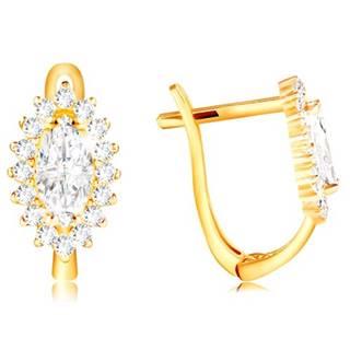 Zlaté 14K náušnice - číre zirkónové zrnko s lemom z čírych zirkónikov
