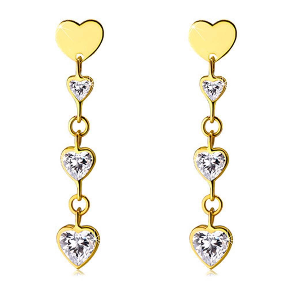 Šperky eshop Lesklé zlaté 585 náušnice - ligotavé zirkónové srdiečka čírej farby, ploché symetrické srdiečko