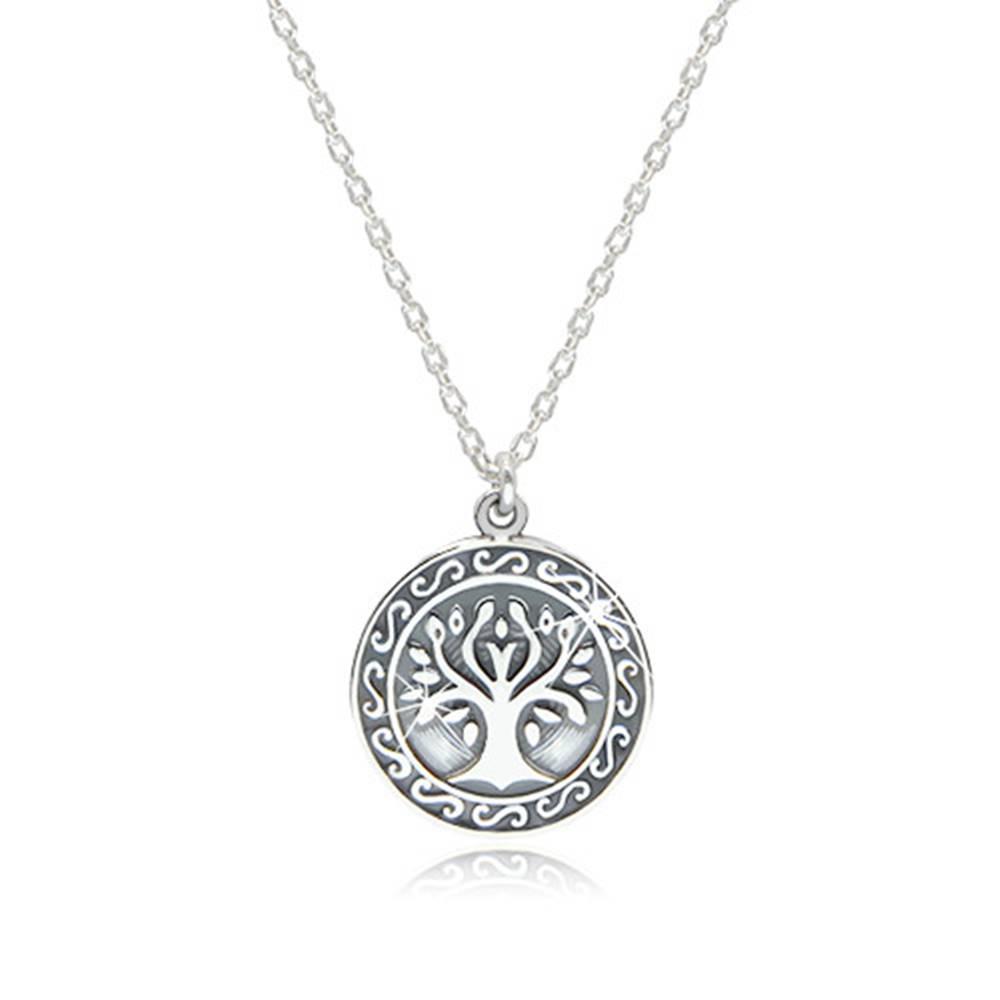 Šperky eshop Náhrdelník zo striebra 925 - lesklý strom života vyobrazený v kruhu