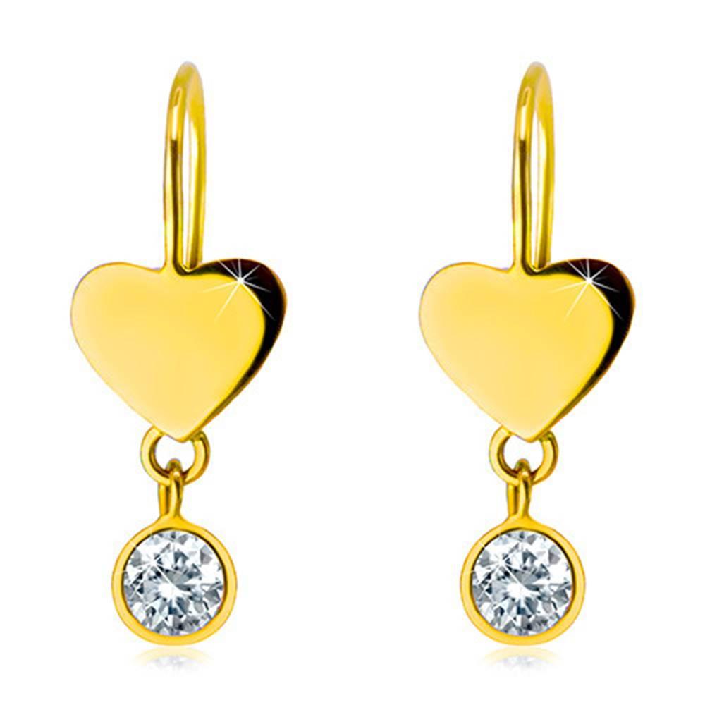 Šperky eshop Náušnice v žltom 14K zlate - súmerné ploché srdiečko a okrúhly číry zirkón v objímke