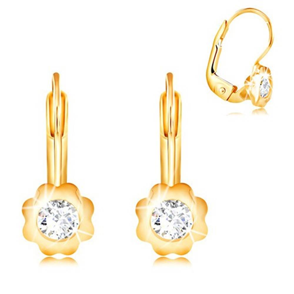 Šperky eshop Náušnice zo žltého 14K zlata - kvietok s hladkými lupeňmi a zirkónom
