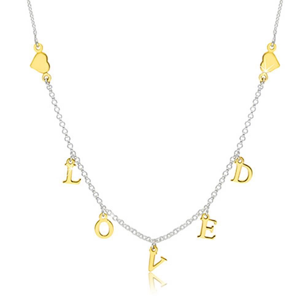 "Šperky eshop Strieborný 925 náhrdelník - lesklé srdiečka a nápis ""LOVED"" v zlatom odtieni"