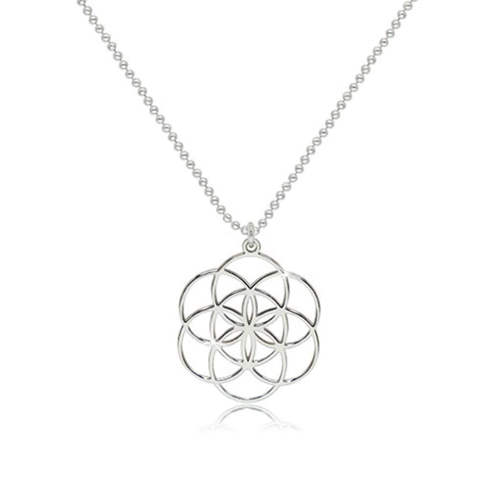 Šperky eshop Strieborný 925 náhrdelník - lesklý symbol Semeno života