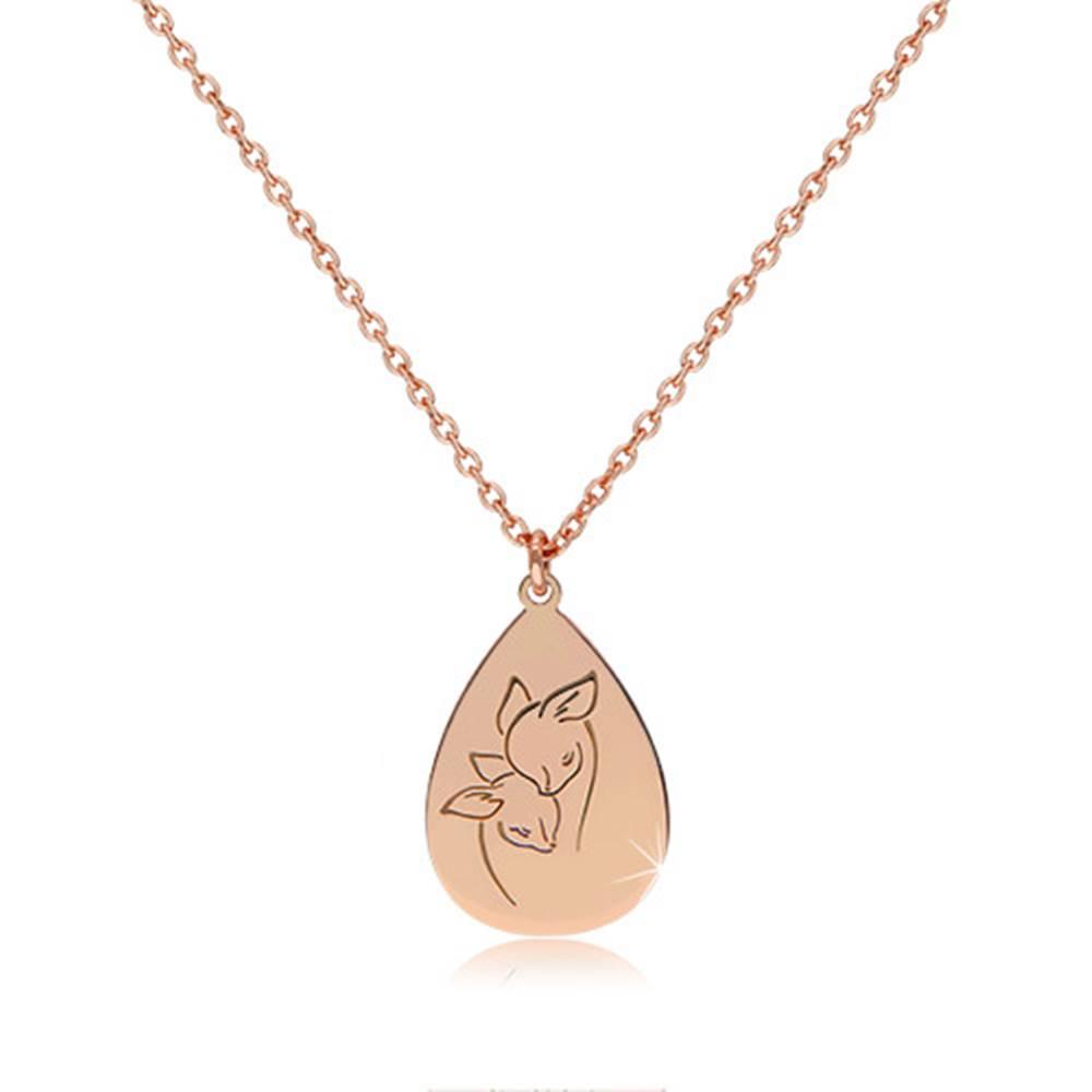 Šperky eshop Strieborný 925 náhrdelník medenej farby - lesklá slza s vyobrazenými srnkami