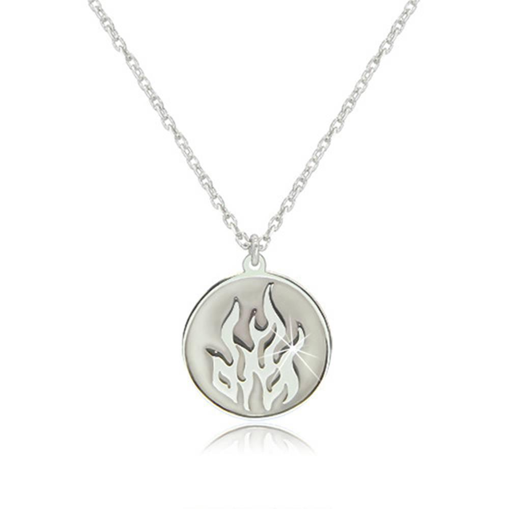 Šperky eshop Strieborný náhrdelník 925 - element ohňa v okrúhlej lesklej línii