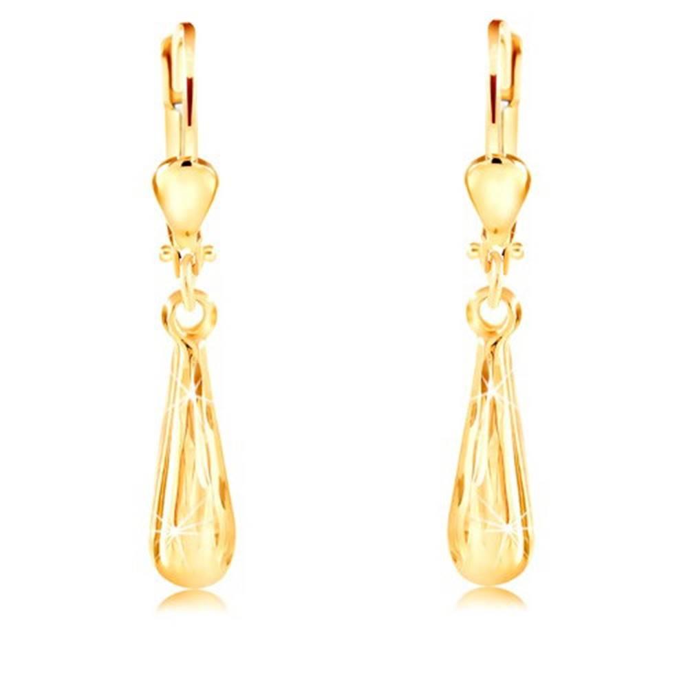 Šperky eshop Visiace náušnice v žltom 14K zlate - ligotavá úzka slza s brúseným povrchom