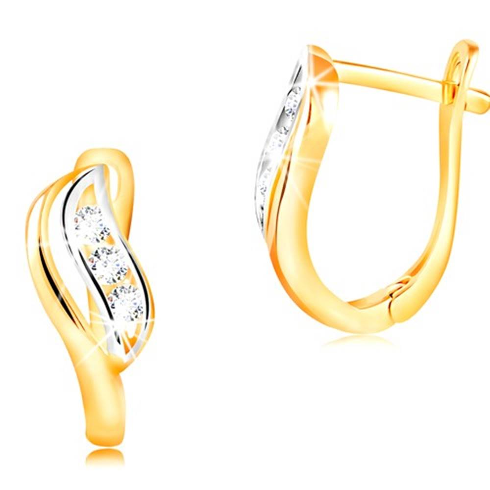 Šperky eshop Zlaté náušnice 14K - dvojfarebný lístok zdobený výrezom a čírymi zirkónmi
