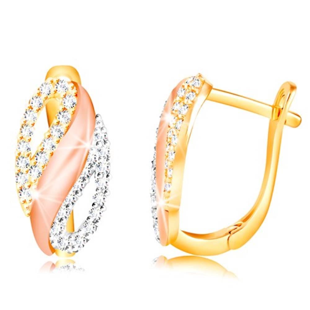 Šperky eshop Zlaté náušnice 585 - ovál s vlnkou a zirkónovými slzičkami, žlté, biele a ružové zlato