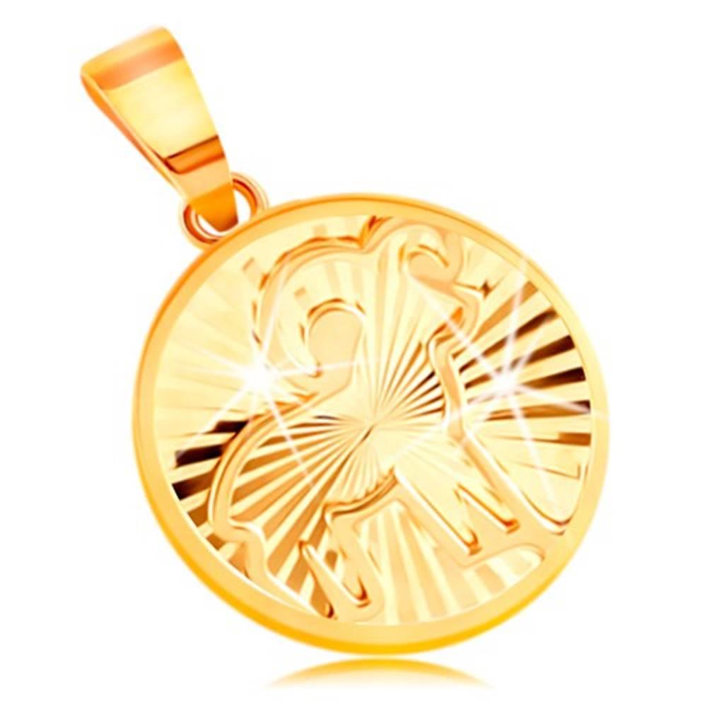 Šperky eshop Zlatý 14K prívesok - lúčovito usporiadané zárezy, znamenie BARAN