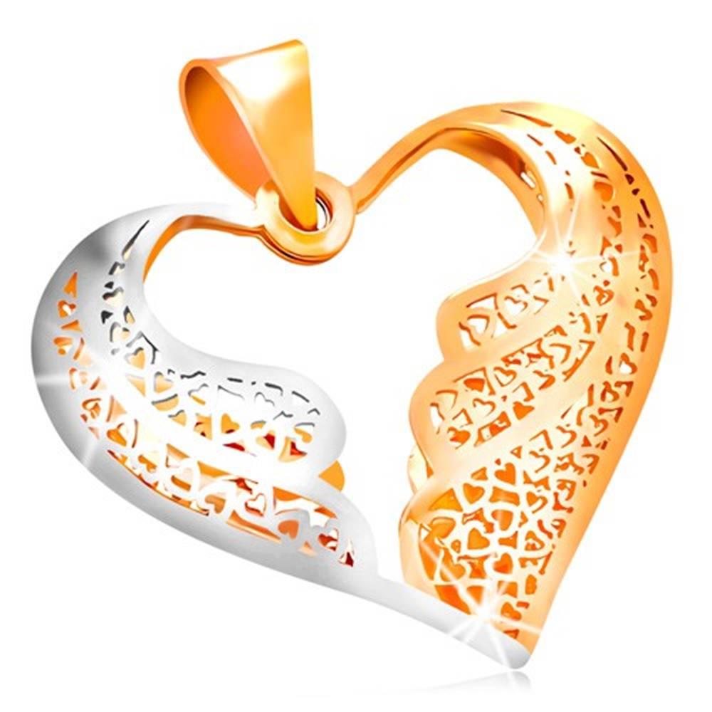 Šperky eshop Zlatý prívesok 585 - filigránové srdce s dvojfarebnými anjelskými krídlami