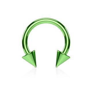 Oceľový piercing do nosa - podkova zelenej farby ukončená hrotmi, titánový povrch - Rozmer: 1,2 mm x 8 mm x 3x3 mm