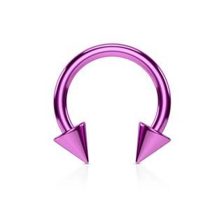Piercing do nosa z ocele s titánovou úpravou - lesklá podkova vo fialovom farebnom odtieni - Rozmer: 1,2 mm x 8 mm x 3x3 mm