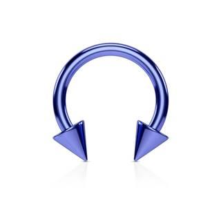 Piercing do nosa z ocele s titánovým povrchom - podkova v modrom odtieni ukončená hrotmi - Rozmer: 1,2 mm x 8 mm x 3x3 mm